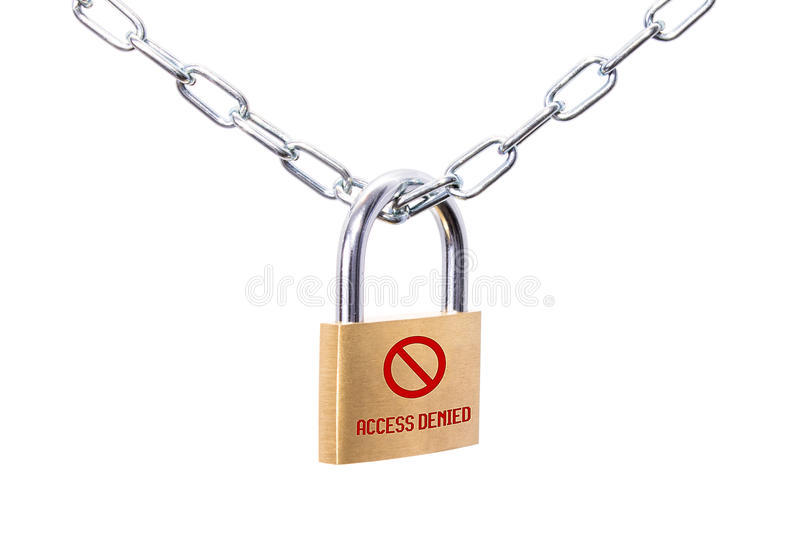 Locked padlock and chain with sign Access Denied. Locked padlock and chain with red sign Access Denied royalty free stock images