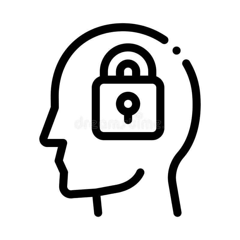 Locked Padlock In Man Silhouette Mind Vector Icon royalty free illustration
