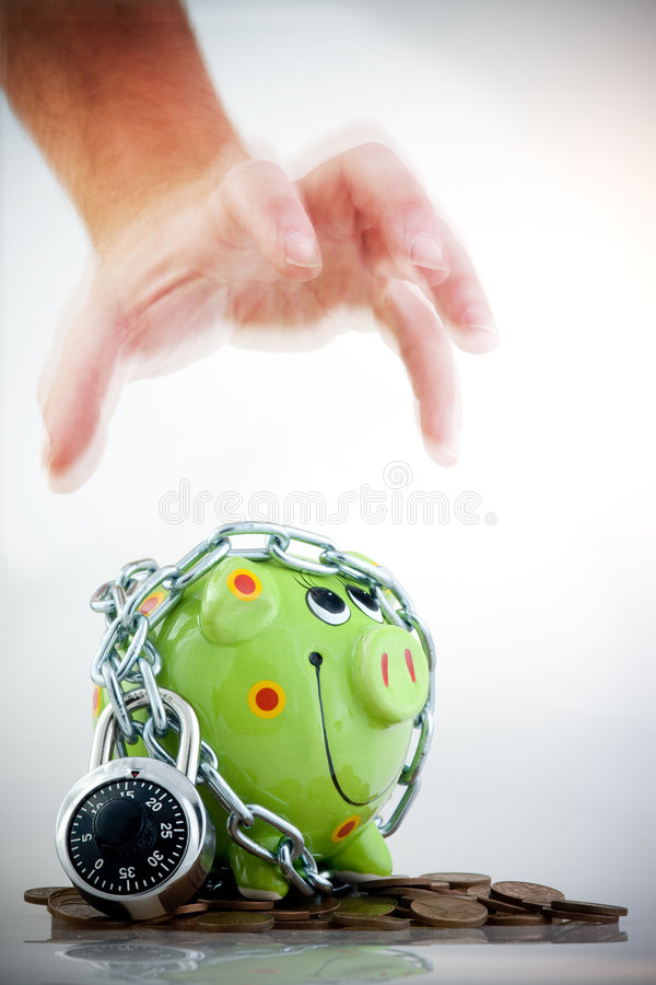 Download Locked piggy bank stock image. Image of restraint, container - 5823515