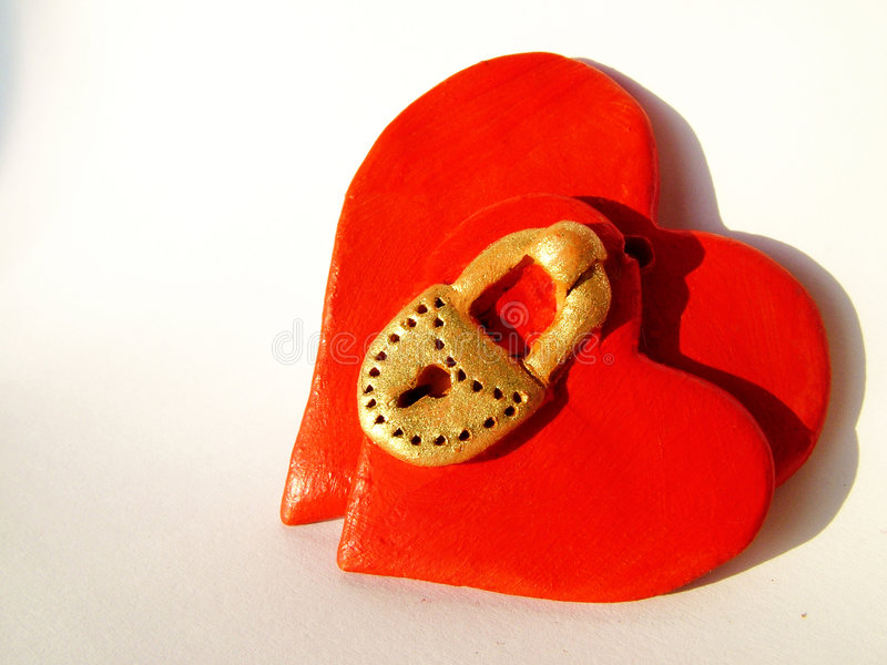Locked Valentine hearts 1 stock images