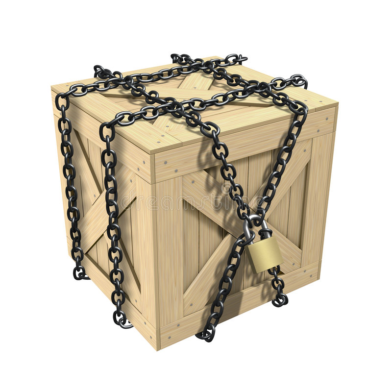 Locked Wooden Crate stock photos