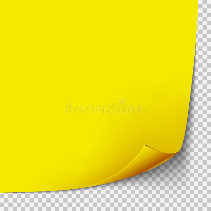 Lockengelbe Papiereckschablone Transparentes Gitter Leeren Sie lokalisierte Hintergrundseite stock abbildung
