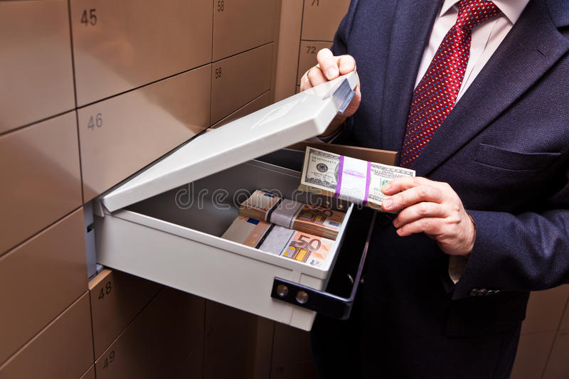 Locker in a bank vault. A locker in a bank vault. Storage of cash and documents stock photography