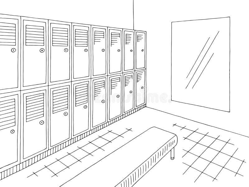 Locker dressing room graphic black white interior sketch illustration vector royalty free illustration