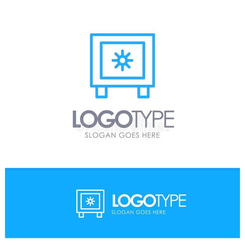 Locker, Lock, Global, Logistic Blue Outline Logo Place for Tagline ilustração do vetor