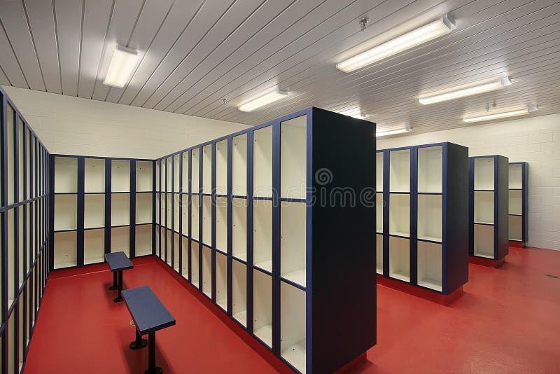 Locker room in swimming area stock photos