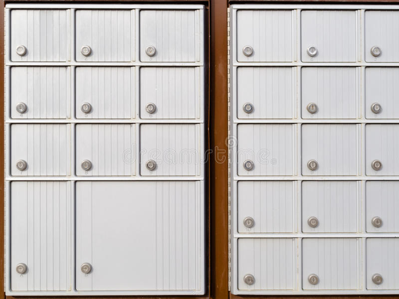 Locker rows of rural Canada Post metal mail box royalty free stock photo