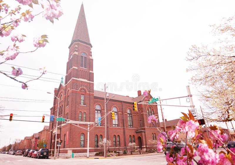 Lockerbie-methodistische Kirche in Indianapolis-Ansicht, USA lizenzfreie stockfotografie