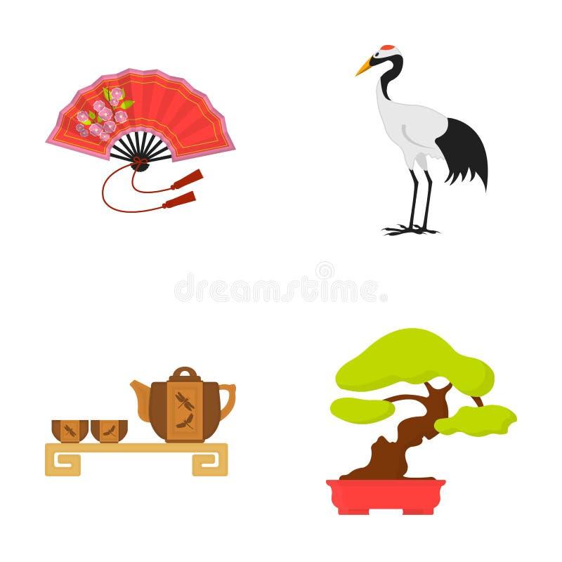 Lockern Sie, roter Kronenkran, Teezeremonie, Bonsai auf Vector gesetzte Sammlungsikonen Japans in der Karikaturart Illustration d vektor abbildung