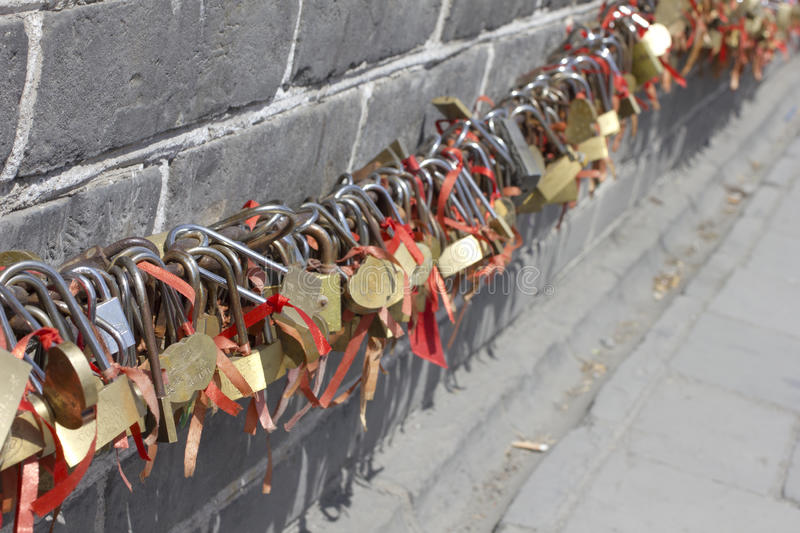 Lockers in the Great Wall of China royalty free stock photography