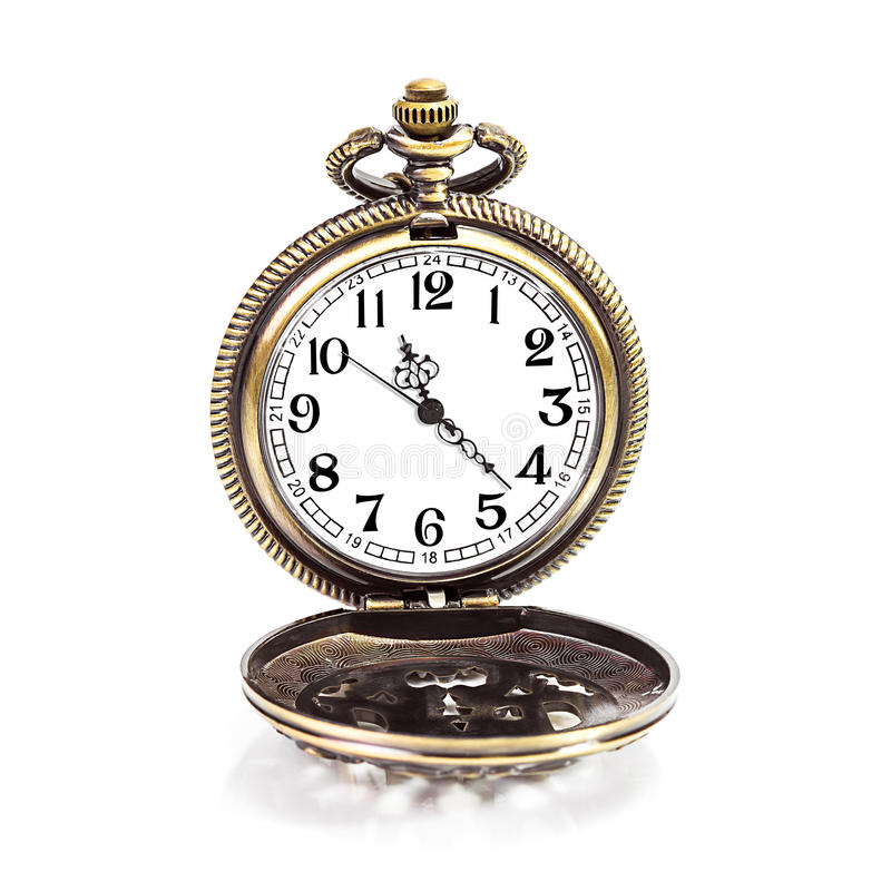 Locket clock isolated. Vintage gold copper pocket clock isolated on white background royalty free stock photography
