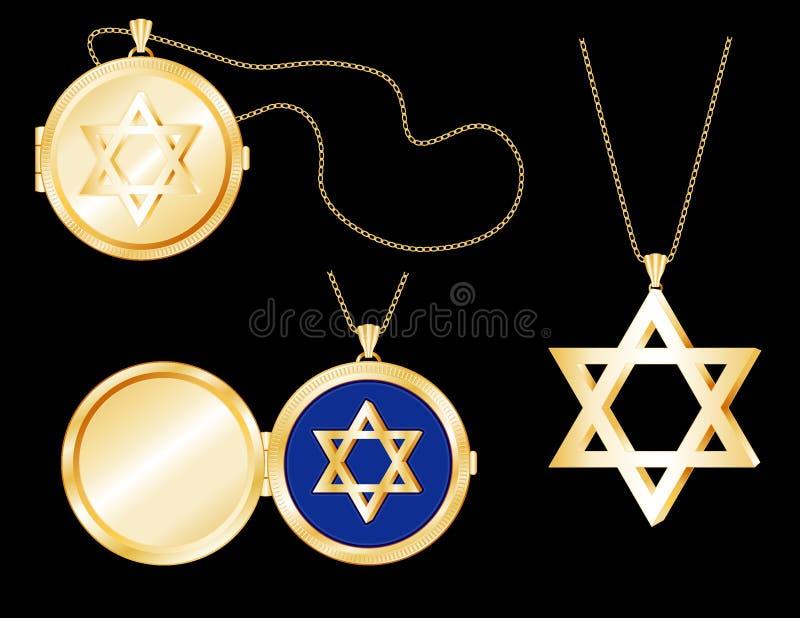 Locket d'étoile de David d'or de +EPS, pendant illustration de vecteur