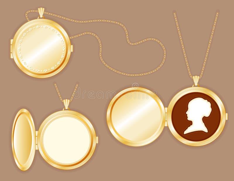 Locket d'or de +EPS avec la camée de Womans, réseaux d'or illustration libre de droits