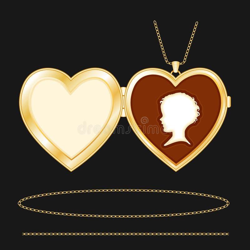 Locket de coeur d'or gravé par +EPS avec la camée illustration de vecteur
