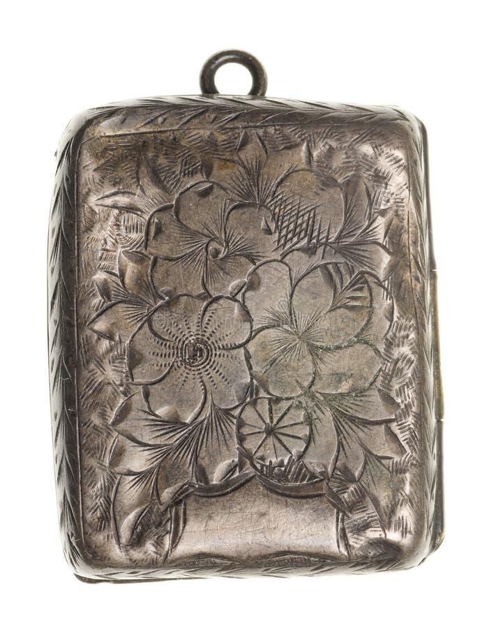 Locket de plata antiguo aislado imagen de archivo libre de regalías