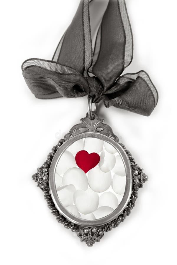 Locket de plata del camafeo con el corazón de las tarjetas del día de San Valentín de los pétalos imagenes de archivo