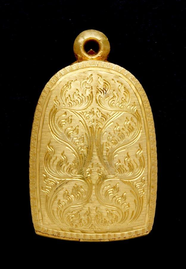 Locket del amuleto de Buddha del oro fotos de archivo libres de regalías
