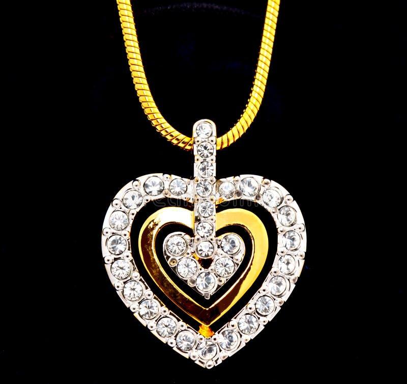 Locket del diamante di figura del cuore fotografia stock libera da diritti