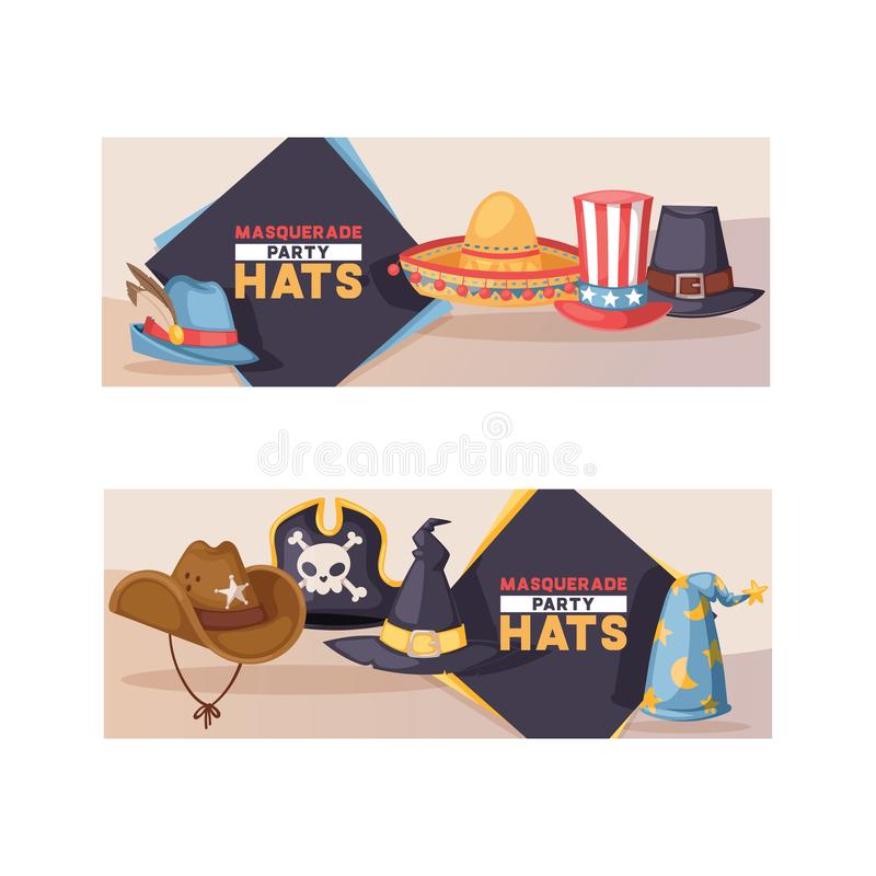 Locket för vektorn för tecknad filmhattmodellen piratkopierar det komiska för karnevalet som firar födelsedagpartiet med headwear royaltyfri illustrationer