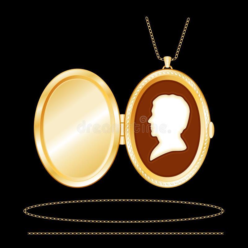 Locket ovale d'or gravé par +EPS avec la camée illustration stock