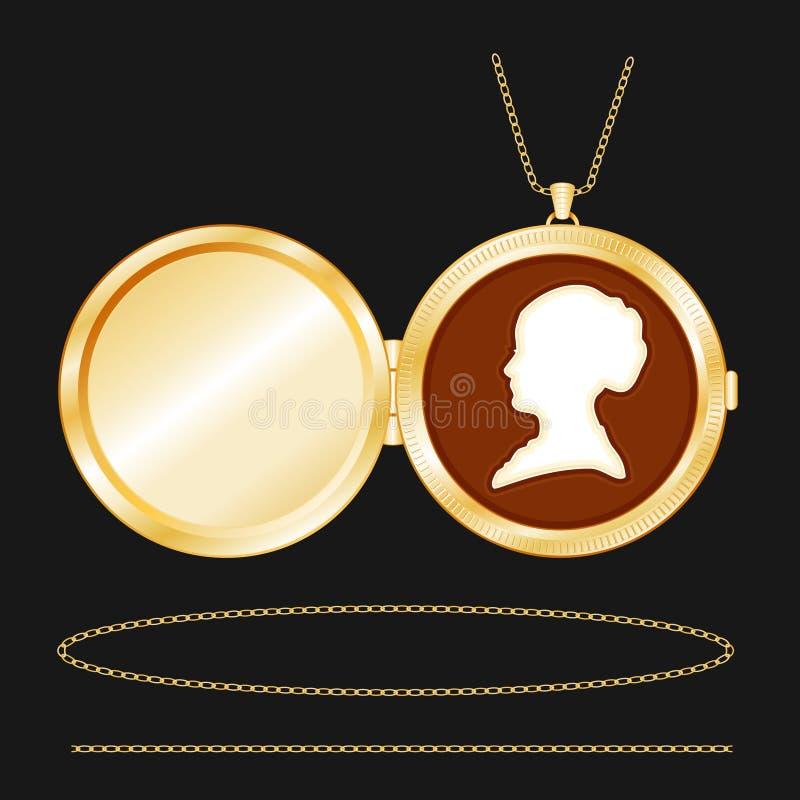 Locket rond d'or gravé par +EPS avec la camée illustration libre de droits