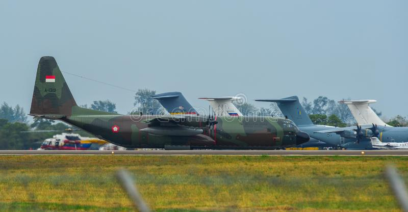 Lockheed c-130H Hercules bij Langkawi-Luchthaven royalty-vrije stock foto's