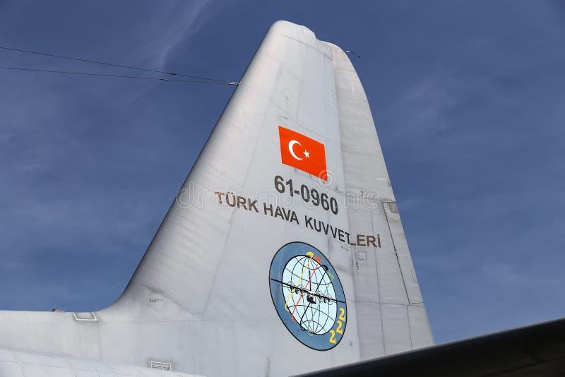 Lockheed c-130 Hercules in Teknofest Istanboel royalty-vrije stock afbeeldingen