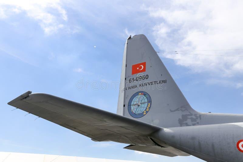 Lockheed c-130 Hercules in Teknofest Istanboel royalty-vrije stock foto's