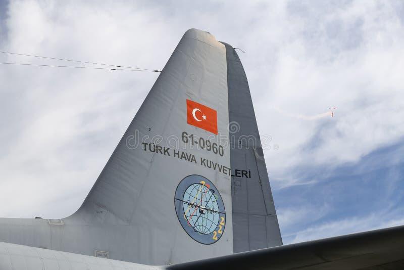 Lockheed c-130 Hercules in Teknofest Istanboel stock afbeeldingen