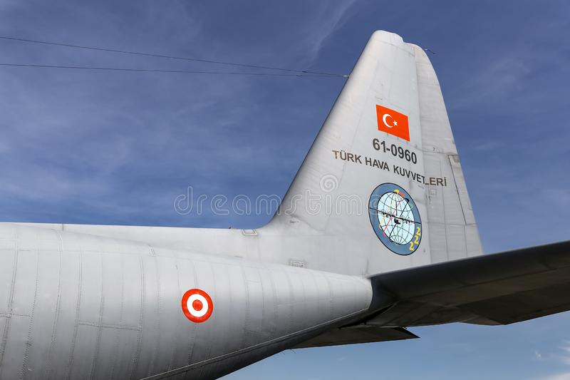 Lockheed c-130 Hercules in Teknofest Istanboel stock afbeelding