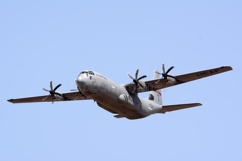 Lockheed Martin C-130J Super Hercules. BENGALURU, INDIA - FEBRUARY 15, 2017: A Lockheed Martin C-130J Super Hercules of the United States Air Force performing at royalty free stock photo