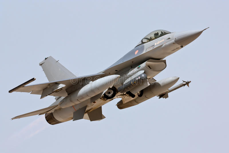 Lockheed Martin F-16 - Start royalty-vrije stock afbeelding