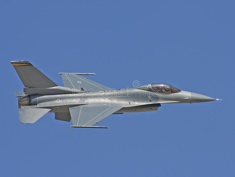 Lockheed Martin F-16 Fighting Falcon fighter jet USAF stock photo