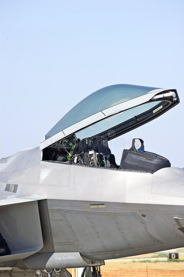 Lockheed Martin F-22 Raptor Tactical Fighter Aircraft. CHINO/CALIFORNIA - MAY 3, 2015: Lockheed Martin F-22 Raptor fighter aircraft on display at the Planes of stock photography