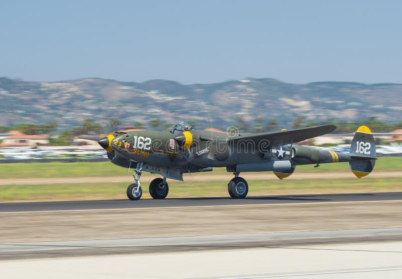 Lockheed P-38 Lighting. Image showing Lockheed P-38 Lighting Skidoo taking off from Camarillo Airport in California stock photos