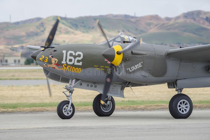 Lockheed P-38 Lighting. Shown taxiing after a flight demo at Chino Airport in Southern California stock photos