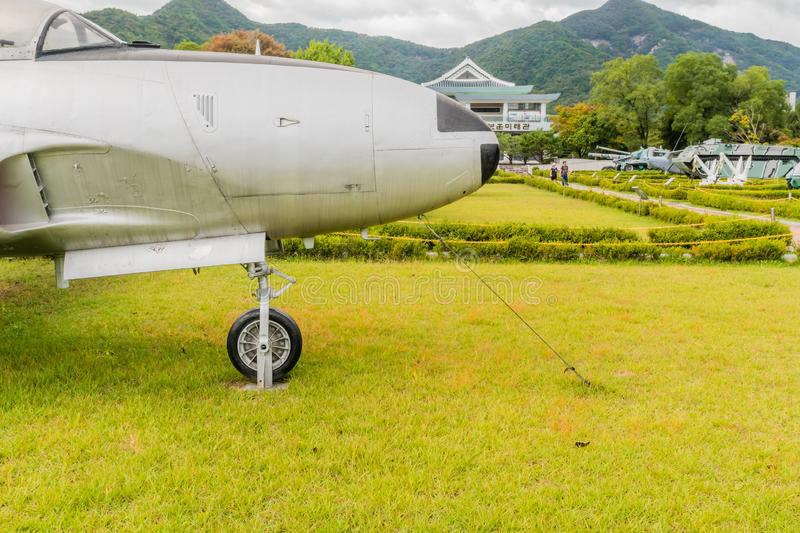 Lockheed T-33 jet trainer. Daejeon, South Korea; October 3, 2019: Closeup of side nose section of Lockheed T-33 jet trainer on display at National Cemetery royalty free stock photography