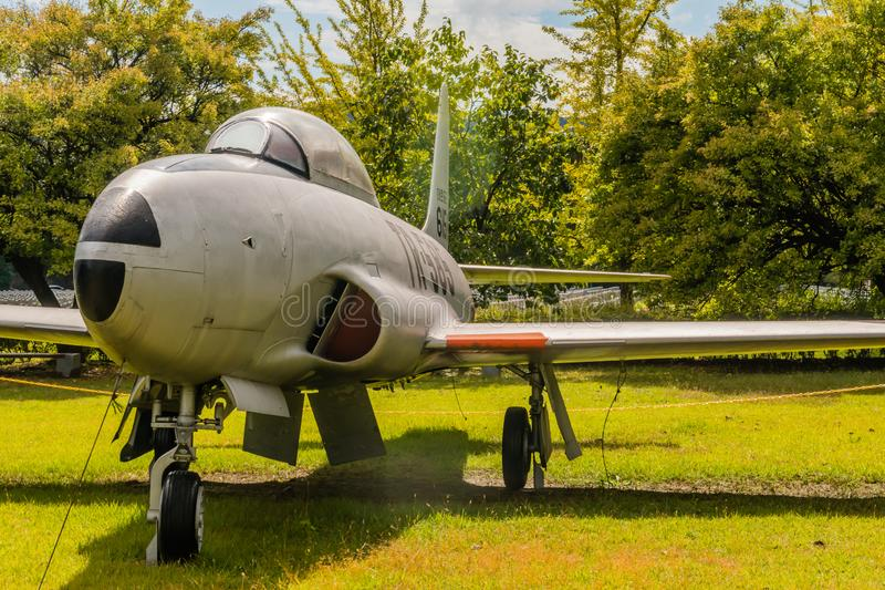 Lockheed T-33 jet trainer. Daejeon, South Korea; October 3, 2019: Front view of port side of Lockheed T-33 jet trainer on display at National Cemetery stock image