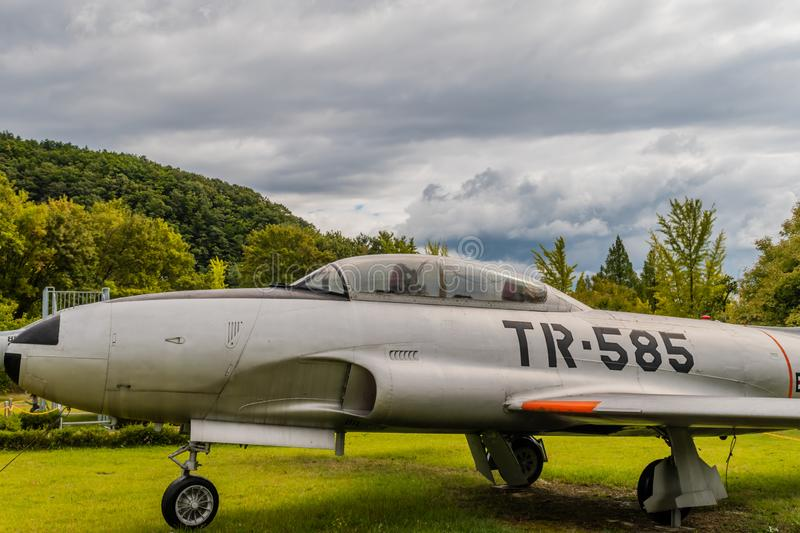 Lockheed T-33 jet trainer. Daejeon, South Korea; October 3, 2019: Side view of front of Lockheed T-33 jet trainer on display at National Cemetery stock photography