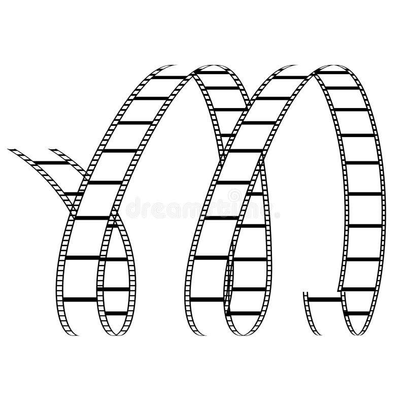 Lockig filmrulle som bildar bokstav M stock illustrationer