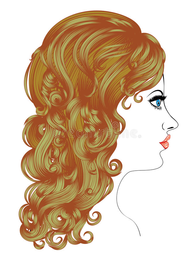 Lockig frisyr stock illustrationer