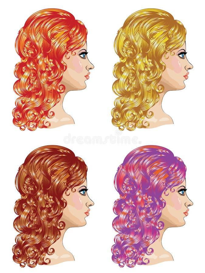 Lockig frisyr royaltyfri illustrationer