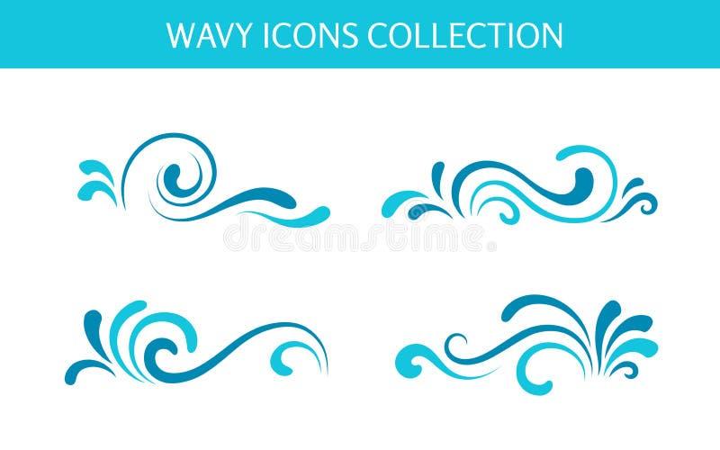 Lockiga vågsymboler royaltyfri illustrationer