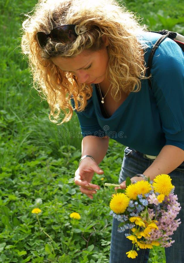 Lockige Mädchensammelnblumen stockfotos