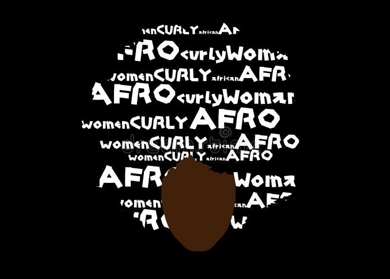 Lockigt afro hår, afrikansk kvinna för stående, kvinnlig framsida för mörk hud med etnisk traditionell afro för lockigt hå vektor illustrationer