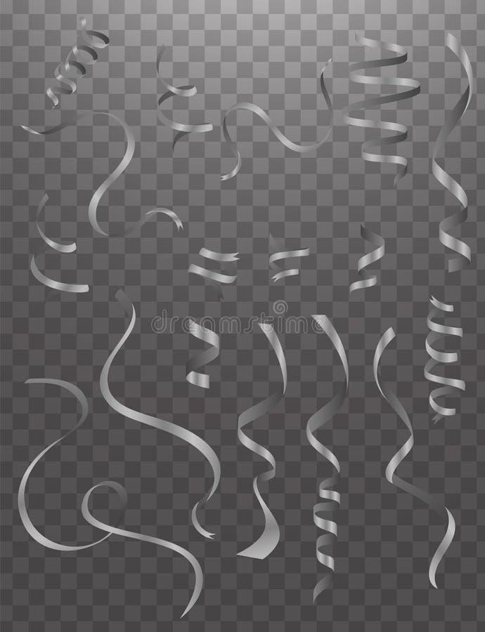 Lockigt och glansigt band som isoleras över den vita bakgrunden, uppsättning vektor illustrationer