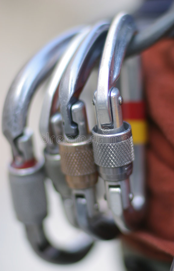 Locking carabiners royalty free stock images