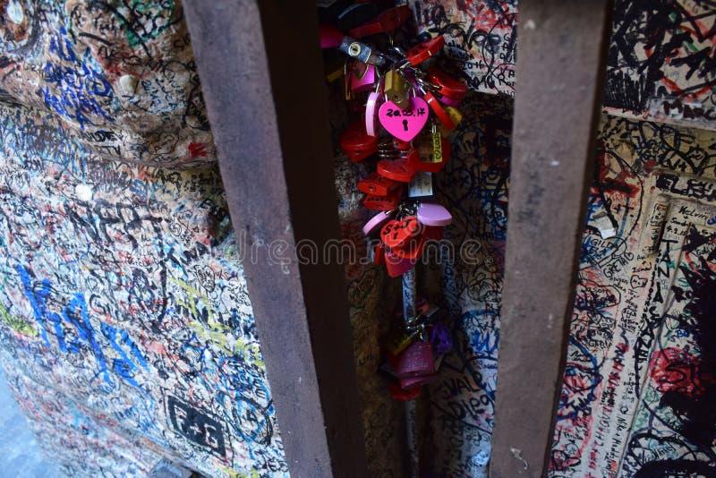 Locking feelings at Verona juliet house royalty free stock photo