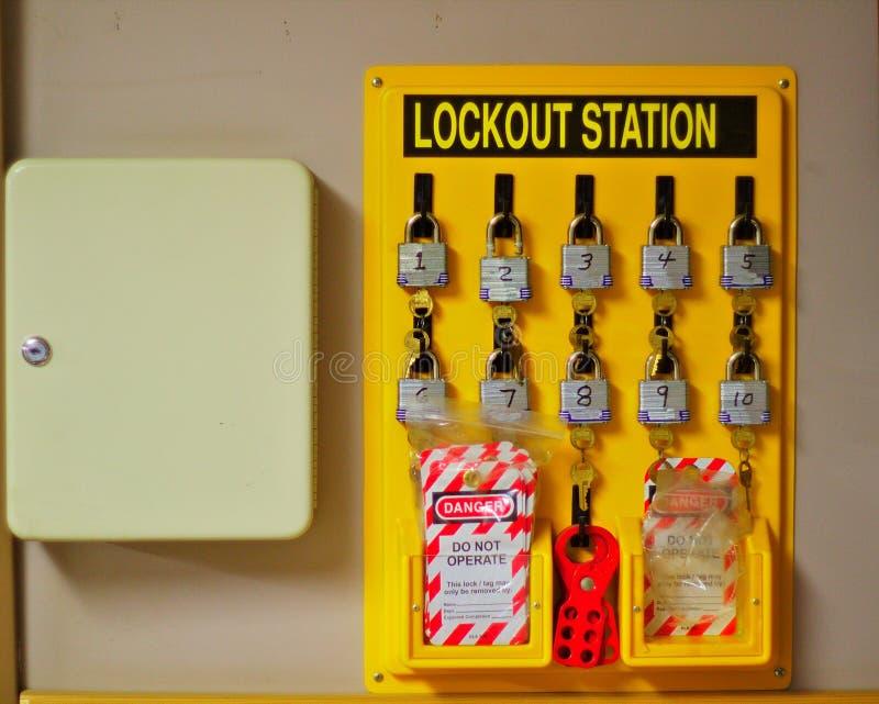 Lockoutstation och nyckel- ask royaltyfri bild