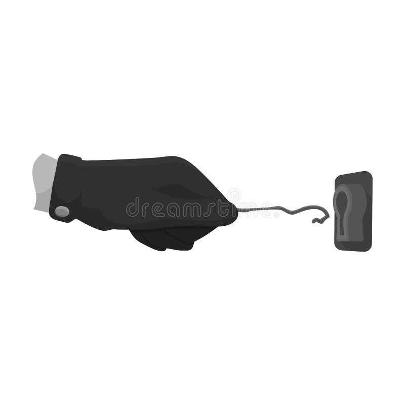 Lockpick nella mano del criminale Chiave di serratura a scatto, strumento del ladro, singola icona di crimine nelle azione monocr illustrazione di stock